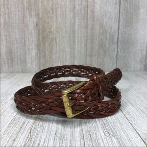 Talbots Skinny Brown Braided Leather Brass Buckle